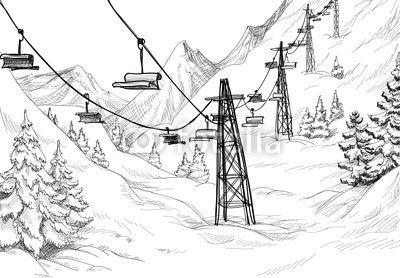 Mountain Ski Lift Chairs Pencil Drawing Eenvoudige Tekeningen Landschap Pentekening