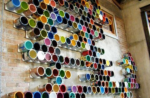 Used Paint Can Art Installation