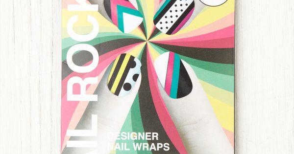 geometric nail wraps nail art
