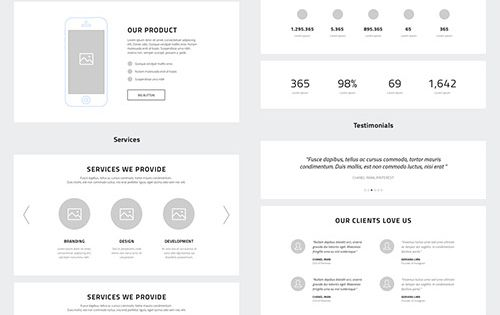 PSD Web Design - One Page Website Wireframes » Graphic GFX PSD