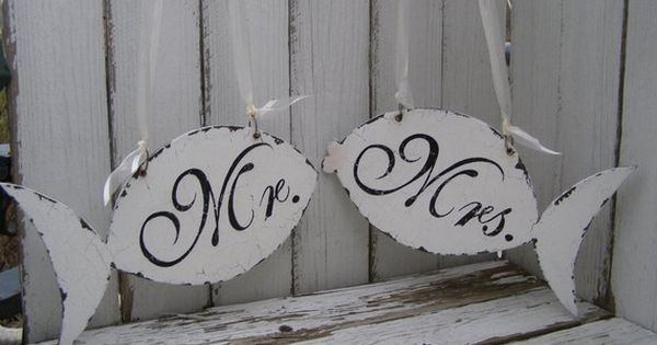 Fish shaped Bride and Groom chair signs