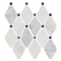 Tempesta Neve Polished Wheaton With Black 12 X 15 In The Tile Shop Marble Mosaic Tiles Mosaic Tiles