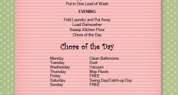 Keeping The House Clean Chore Chart