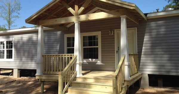 Open Beam Gable Roof Over Wood Front Porch With Steps On Mobile