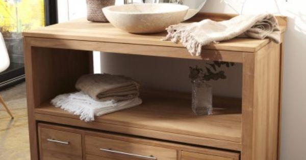 Meuble salle de bain en teck brut layang solo salle bain for Meuble salle de bain tek