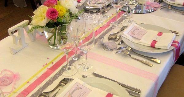 Mariage romantique en rose gris et jaune pale gros plan - Chemin de table rose pale ...