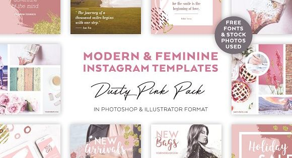 Dusty Pink INSTAGRAM BANNER Pack – Impress, engage and grow your followers with beautiful social media graphics