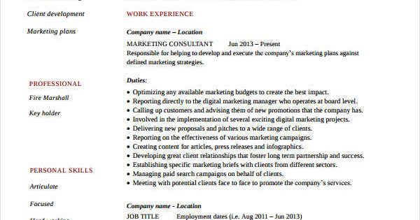 Senior Marketing Consultant Resume , Marketing Resume Samples for - marketing consultant resume