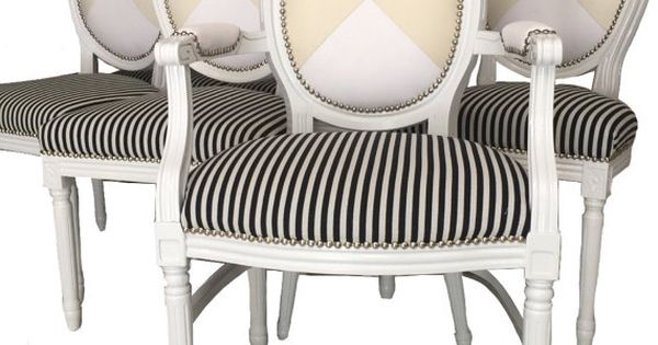 Set of 8 upholstered dining chairs painted white black and