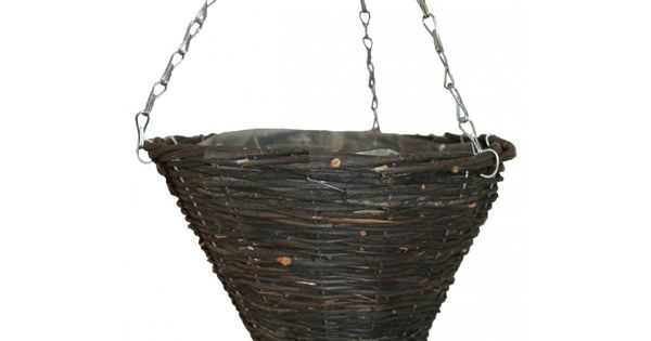 Hanging Flower Baskets Cone Shaped : Natural wicker cone shape hanging basket wedding