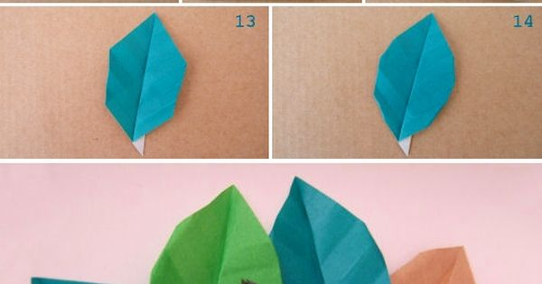 Paper Leaves. Perfect for adding to origami flowers. DIY Crafts Paper Origami