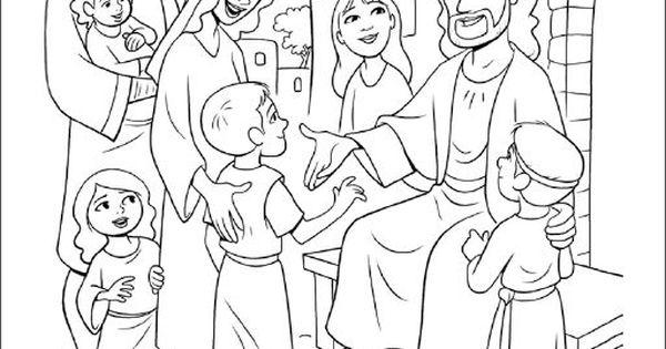 Jesus blesses the little children coloring pages for Jesus blesses the children coloring page