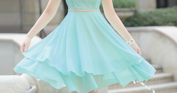 Elegant, Layered, Chiffon Dress, Lace Top, YRB, YRBfashion, korean dresses fashion, korean