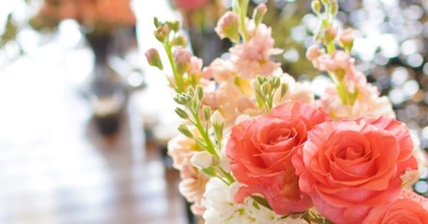 Coral flower centerpieces