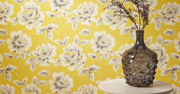 Behang linn geel vaas muur en decoratie - Decoratie geel ...