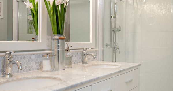 Bathroom With 12x24 Quot Stacked Wall Tiles White Vanity And