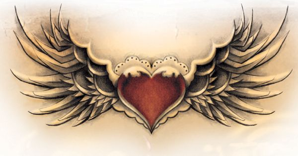 Winged Heart Tattoo Design with a locket in the middle ...
