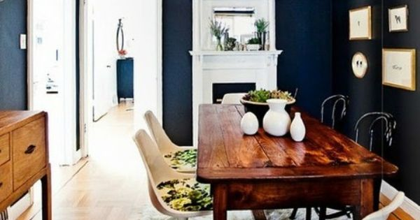 dining room, dark walls, navy blue walls