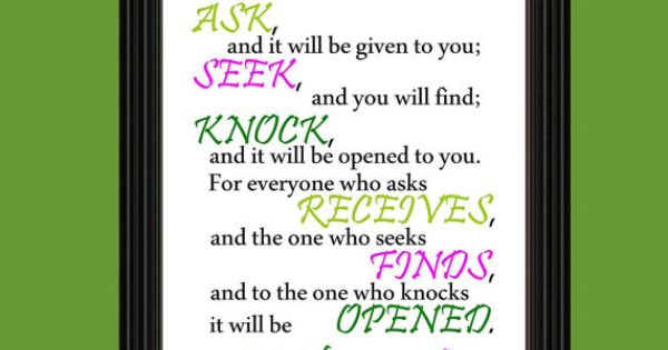 Ask Seek Knock Art Printable Matthew 7 7 8 My