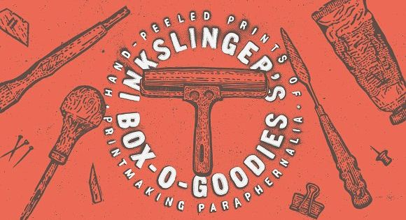 Inkslinger's Box-O-Goodies – illustrations and textures were hand-drawn, hand-carved, and hand-printed using traditional woodcut techniques