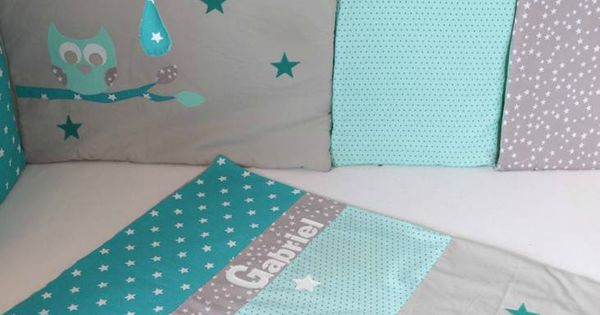 couverture b b turquoise vert d 39 eau mint hibou toiles pr nom d co chambre b b pinterest. Black Bedroom Furniture Sets. Home Design Ideas
