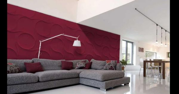 Exciting Red Textured Wall Panels Living Room With Maroon