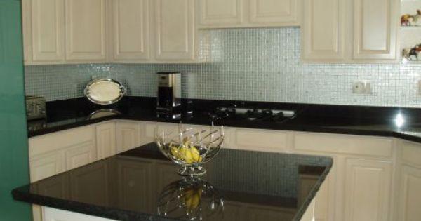 White Cabinets Black Galaxy Granite Aluminum Backsplash Images