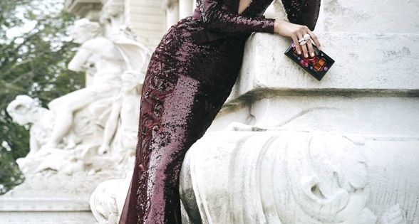 Chanel fluid long gown sleeves dress sequins burgundy purple aubergine chanel fashion
