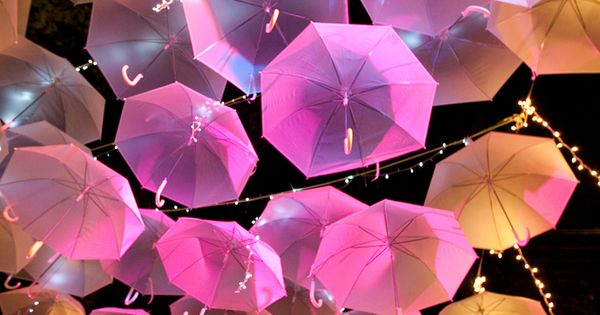 Umbrella canopy. Easy DIY wedding idea. Use white umbrellas and let the