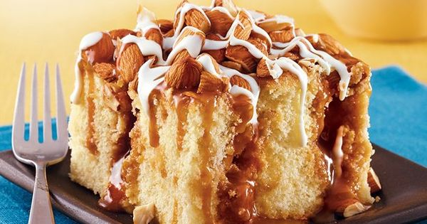 Caramel Almond Poke Cake recipe from Betty Crocker