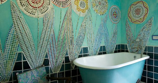 Love these mosaic flowers covering the bathroom wall. Makes a great bohemian