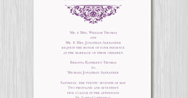 "How Do You Make Your Own Wedding Invitations: Printable Wedding Invitation Template ""Grace"" Plum Purple"