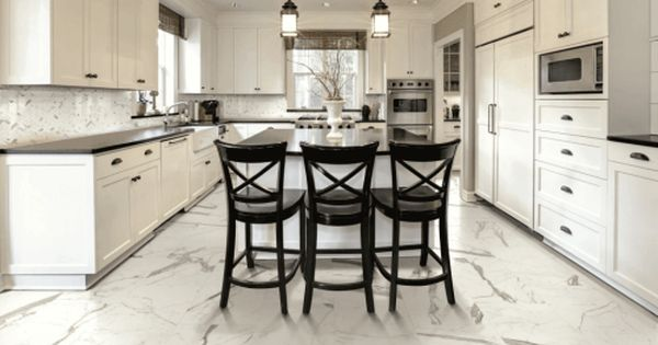 7 Tips On Choosing The Right Floor Tile For Every Room Stylish Kitchen Kitchen Design Stylish Kitchen Island