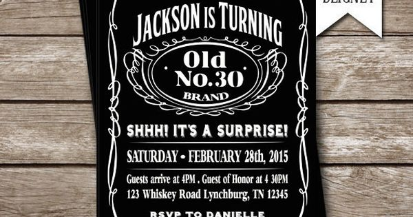 aged to perfection jack daniels themed party invitation printable digital file please. Black Bedroom Furniture Sets. Home Design Ideas