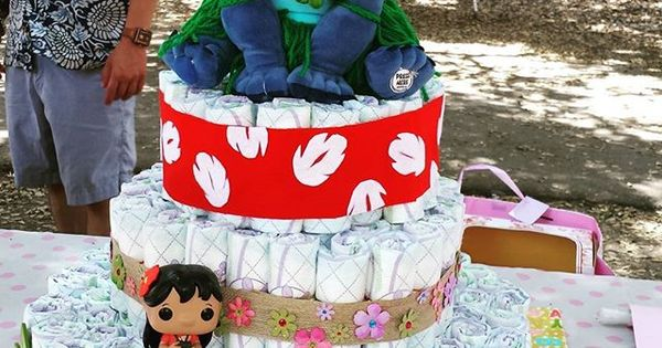 Finish Product Lilo And Stitch Themed Diaper Cake For
