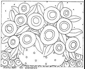 RUG HOOK CRAFT PAPER PATTERN Primitive Blooms FOLK ART Abstract Karla Gerard