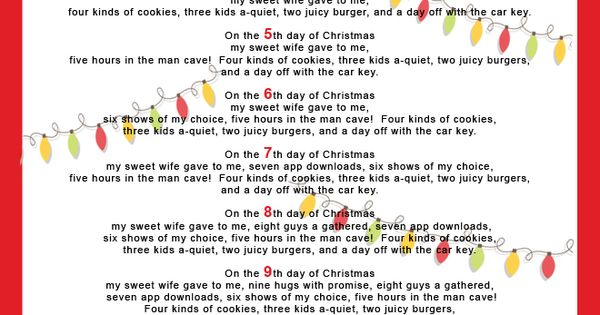 The 12 Days of Christmas for Your Hubby http:\/\/imom.com\/seasonal\/christmas\/the-12-days-of-christmas-for-your-hubby\/ christmas husband |