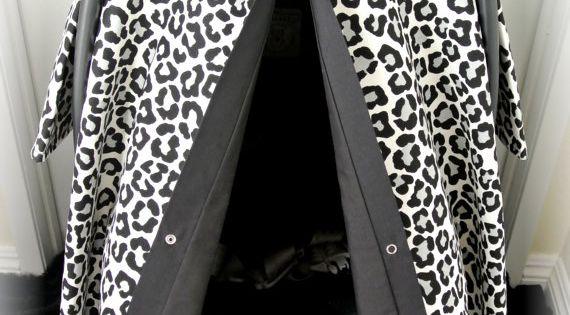 Car Seat Canopy Car Seat Cover Cheetah Black Polka Dot