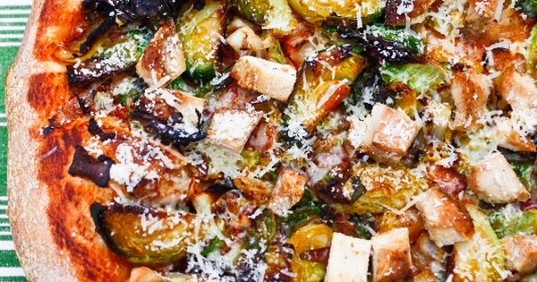 Brussels Sprout and Chicken Pizza with Parmigiano Reggiano from Carrots 'n' Cake