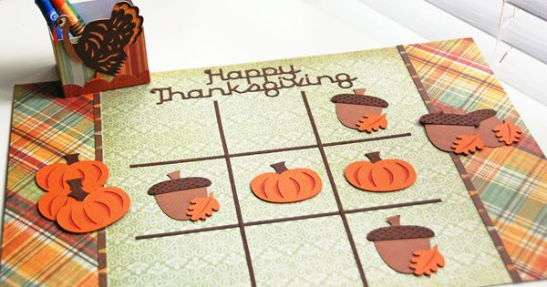 Make a Thanksgiving Tic-Tac-Toe using your Cricut machine! thanksgiving craft