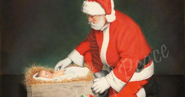 Christmas painting santa jesus manger canvas super sale