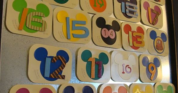 Adorable Disney vacation countdown calendar...make using free paint chips from Home Depot!