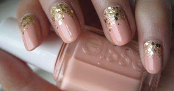coral & gold nails