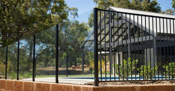 Combination Glass And Aluminium Pool Fence Google Search Wrought Iron Pool Fence Aluminum Pool Fence Pool Fence