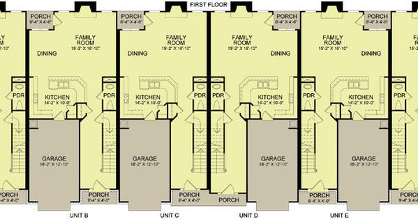 6 plex 4 main apartment house plan ideas pinterest 4 plex plans narrow lot