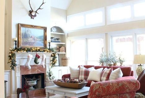 Christmas Family Room Traditional Natural Elements Plaid Red And