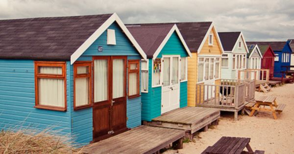 Colorful Beach Huts at Mudeford Sandbank, NewZealand ..