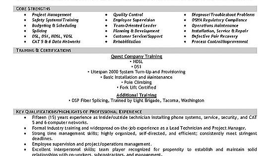 telecom technician resume example