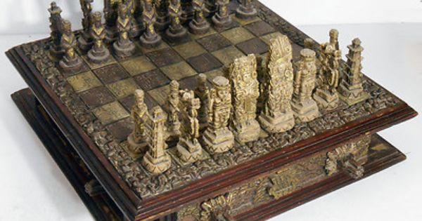 Vtg Large Chess Set Wood Board W Drawers Mayan Aztec 6 Tall King