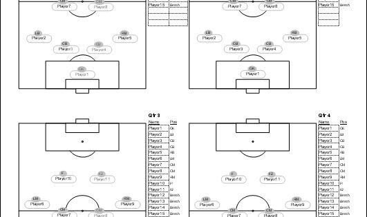 Soccer player set up sheets soccer lineup sheet for Soccer starting lineup template